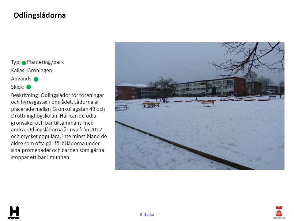 Odlingslådorna Typ: Plantering/park Kallas: Gröningen Används: Skick: