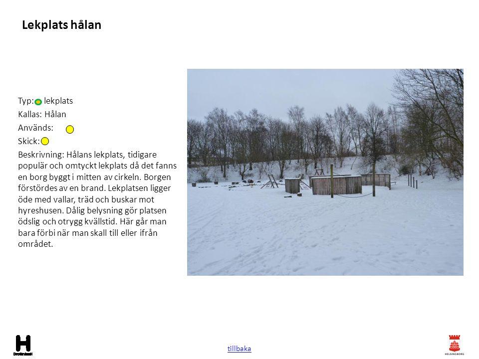 Lekplats hålan Typ: lekplats Kallas: Hålan Används: Skick: