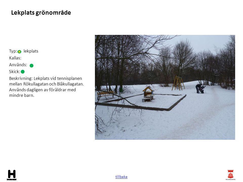 Lekplats grönområde Typ: lekplats Kallas: Används: Skick: