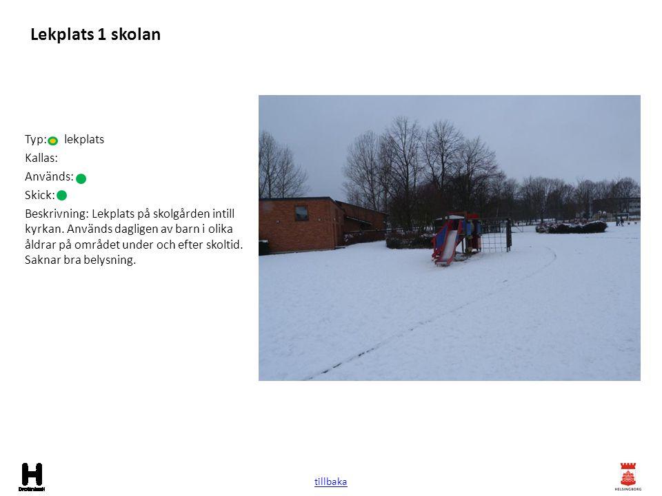Lekplats 1 skolan Typ: lekplats Kallas: Används: Skick: