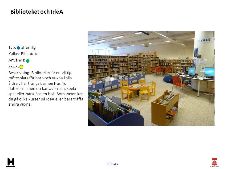 Biblioteket och IdéA Typ: offentlig Kallas: Biblioteket Används:
