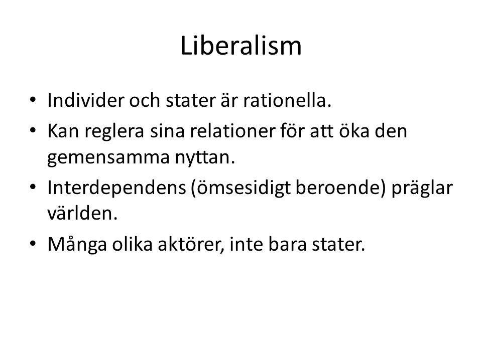 Liberalism Individer och stater är rationella.