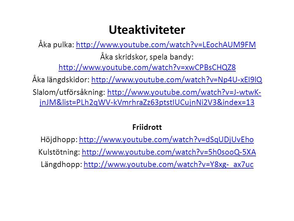 Uteaktiviteter Åka pulka: http://www.youtube.com/watch v=LEochAUM9FM