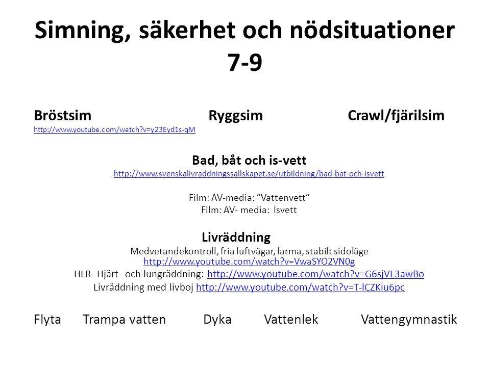 Simning, säkerhet och nödsituationer 7-9