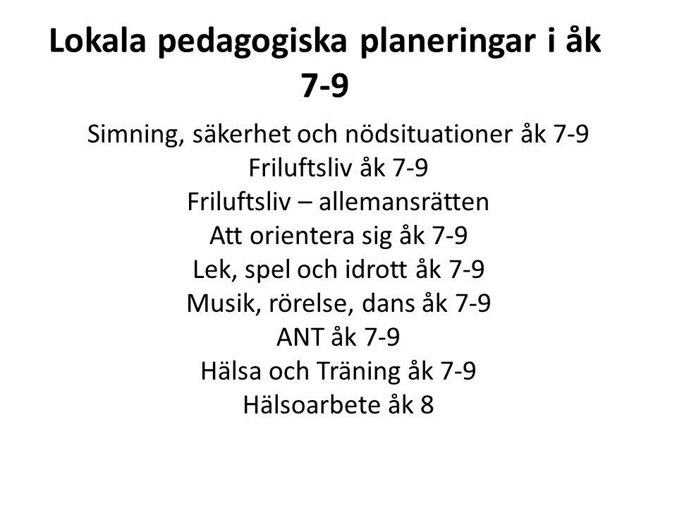 Lokala pedagogiska planeringar i åk 7-9
