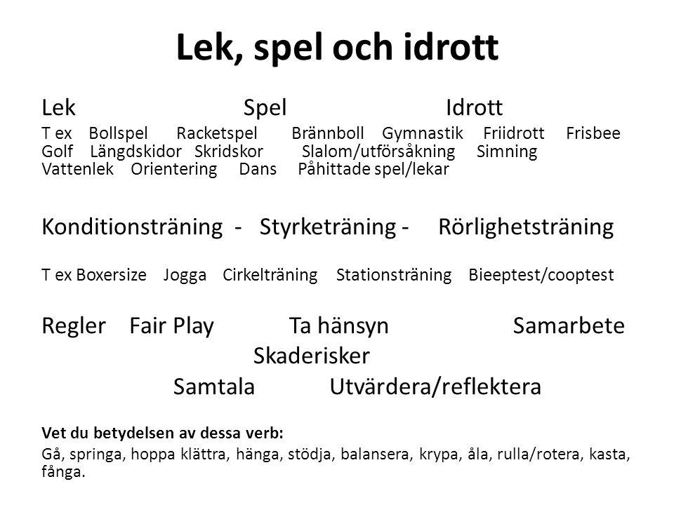 Lek, spel och idrott Lek Spel Idrott
