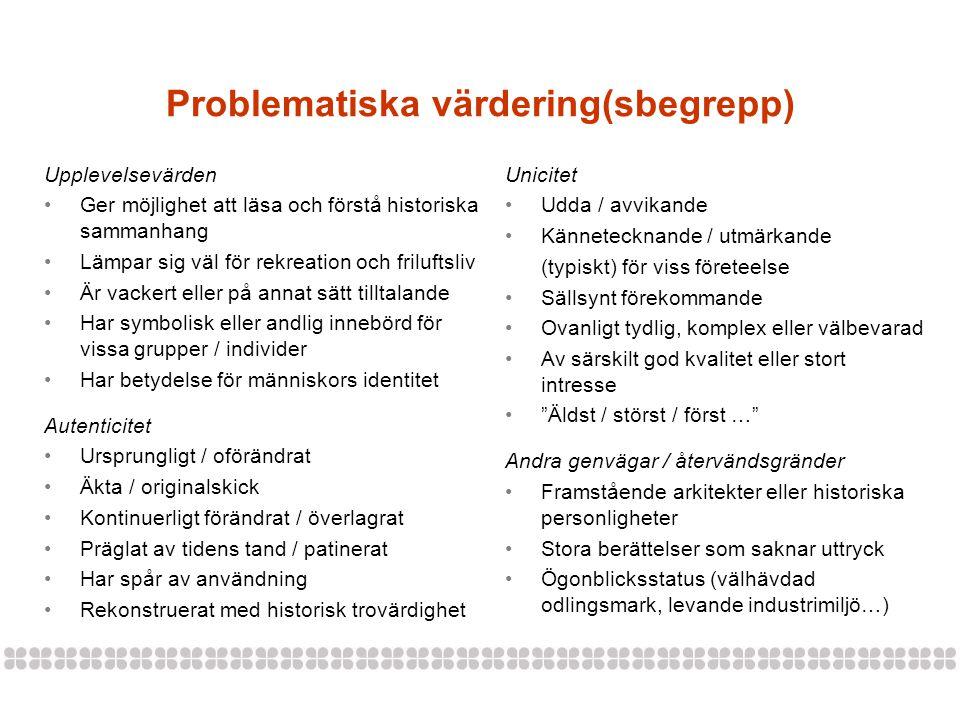 Problematiska värdering(sbegrepp)