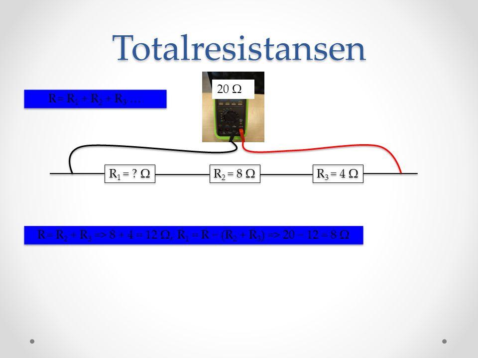 R = R2 + R3 => 8 + 4 = 12 Ω, R1 = R − (R2 + R3) => 20 − 12 = 8 Ω