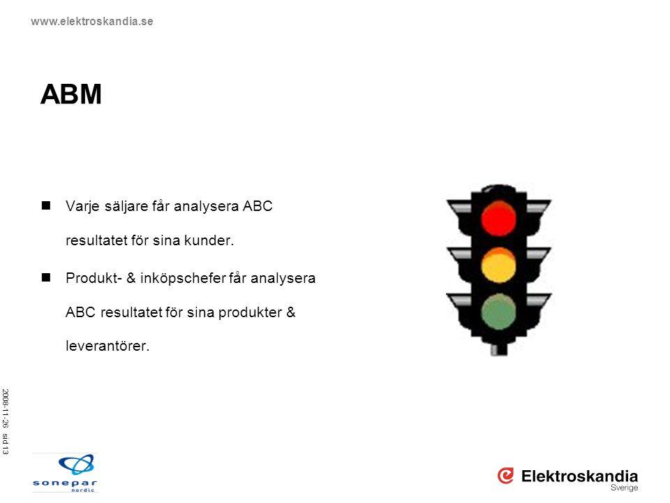 ABM Varje säljare får analysera ABC resultatet för sina kunder.