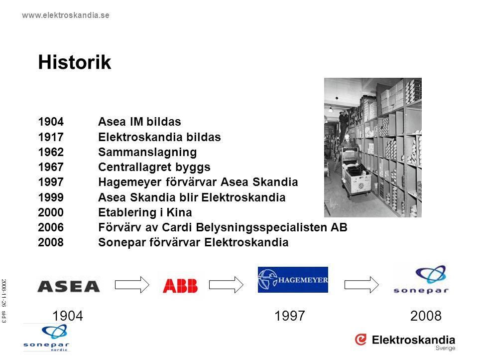 Historik 1904 1997 2008 1904 Asea IM bildas 1917 Elektroskandia bildas