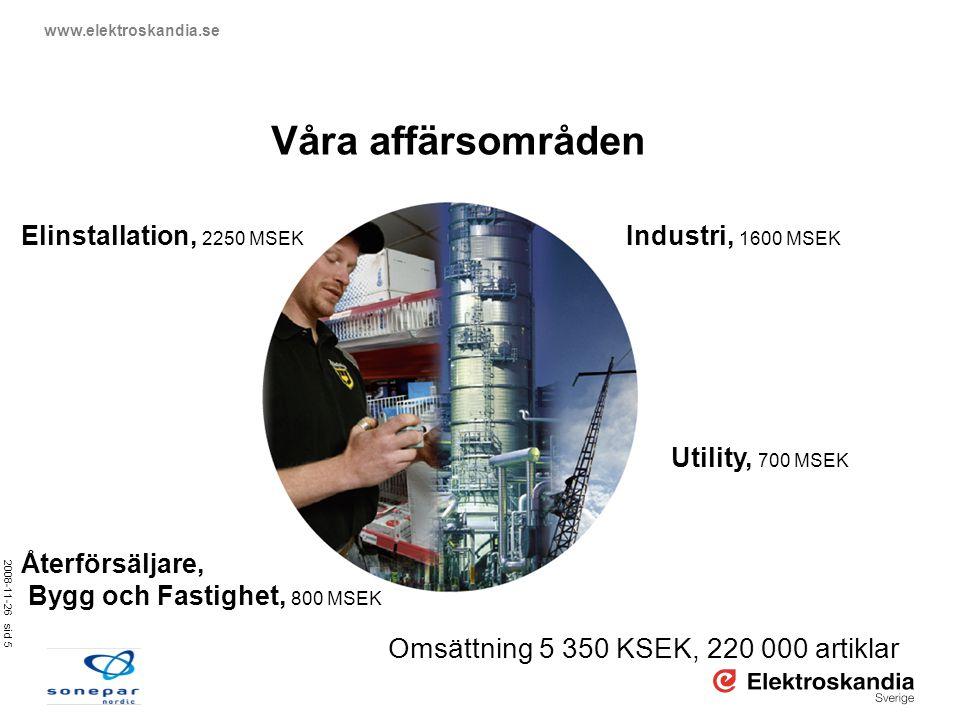 Våra affärsområden Omsättning 5 350 KSEK, 220 000 artiklar