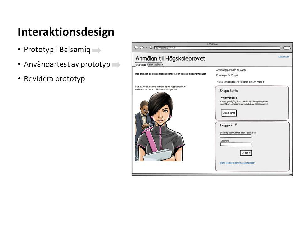 Interaktionsdesign Prototyp i Balsamiq Användartest av prototyp