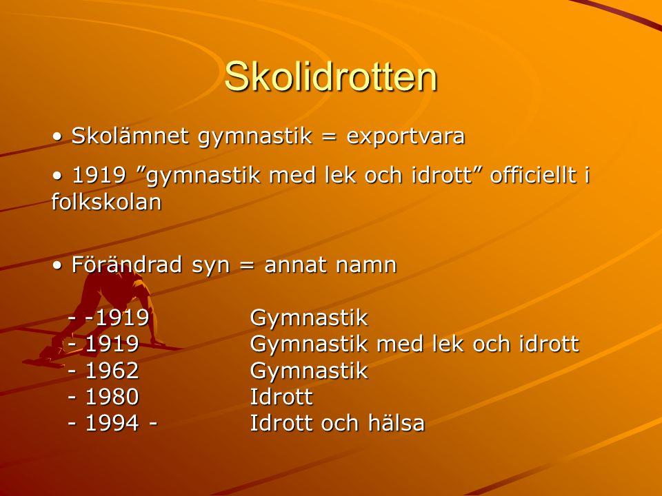 Skolidrotten Skolämnet gymnastik = exportvara