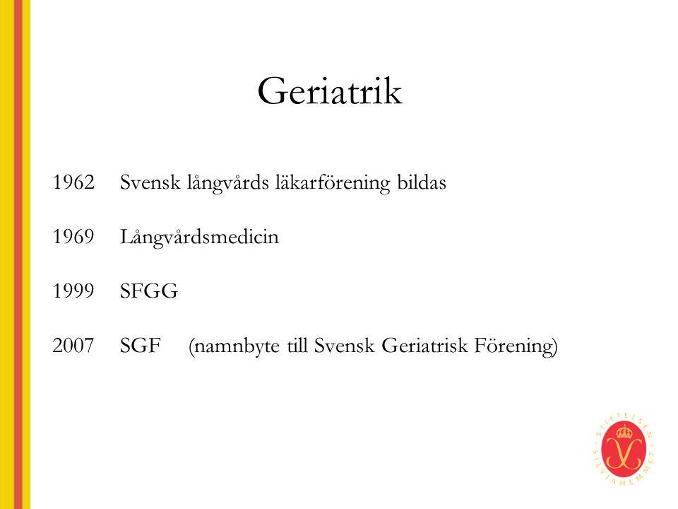 Geriatrik 1962 Svensk långvårds läkarförening bildas