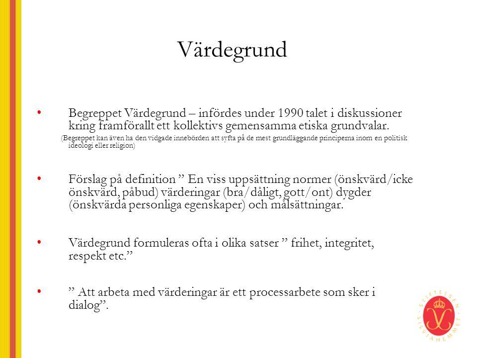 Värdegrund Begreppet Värdegrund – infördes under 1990 talet i diskussioner kring framförallt ett kollektivs gemensamma etiska grundvalar.