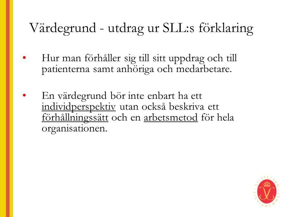 Värdegrund - utdrag ur SLL:s förklaring