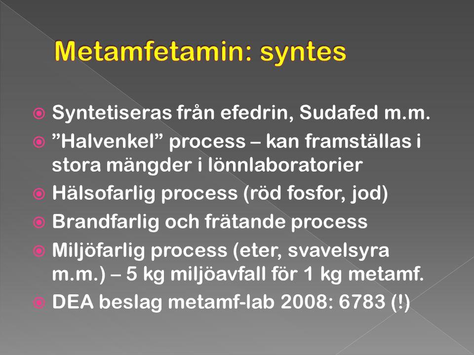 Metamfetamin: syntes Syntetiseras från efedrin, Sudafed m.m.