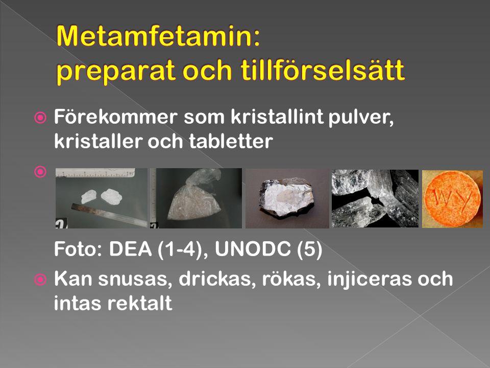 Metamfetamin: preparat och tillförselsätt