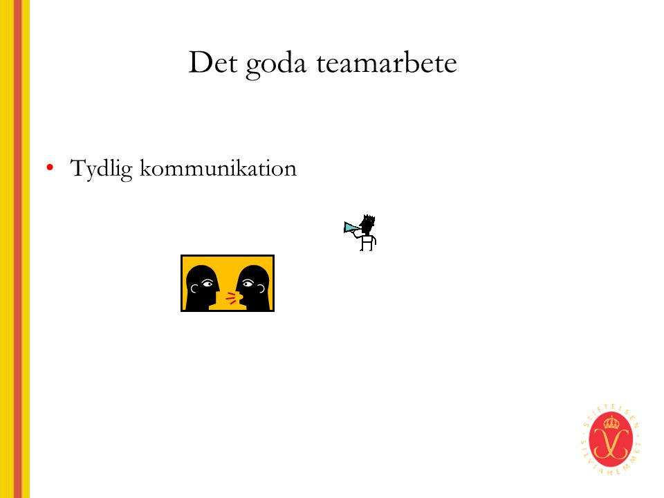 Det goda teamarbete Tydlig kommunikation