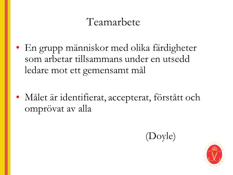 Teamarbete En grupp människor med olika färdigheter som arbetar tillsammans under en utsedd ledare mot ett gemensamt mål.