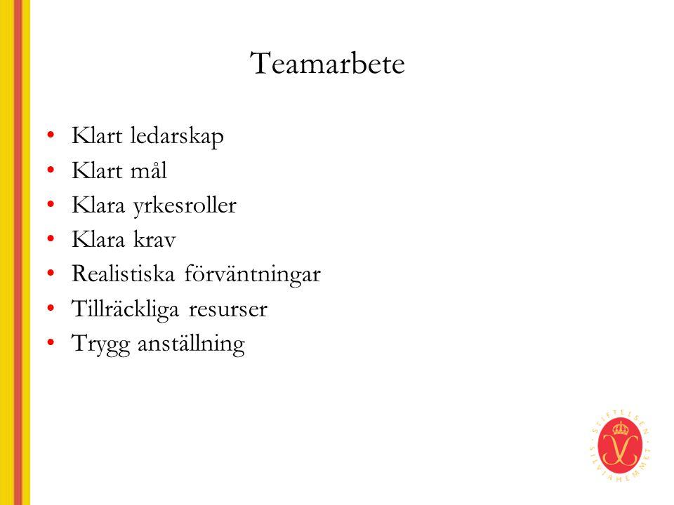 Teamarbete Klart ledarskap Klart mål Klara yrkesroller Klara krav
