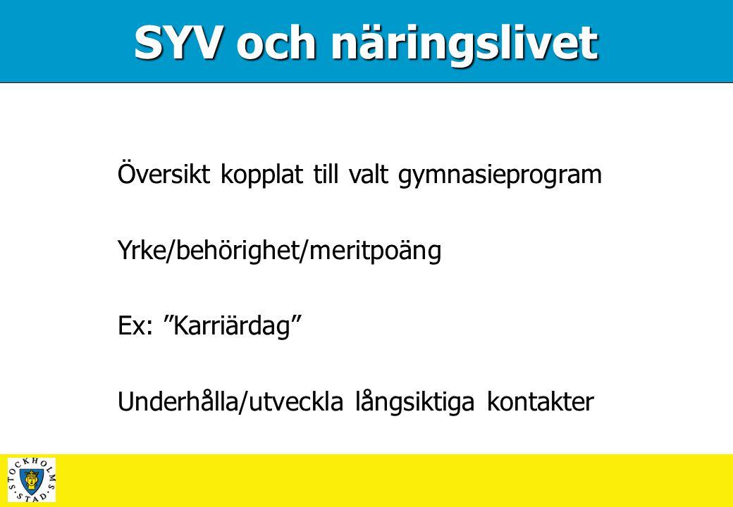 SYV och näringslivet Översikt kopplat till valt gymnasieprogram
