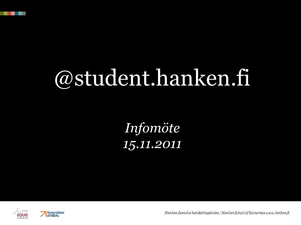 @student.hanken.fi Infomöte 15.11.2011