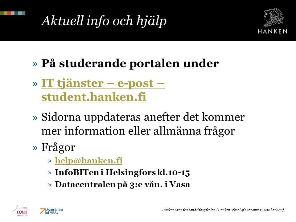 Aktuell info och hjälp På studerande portalen under