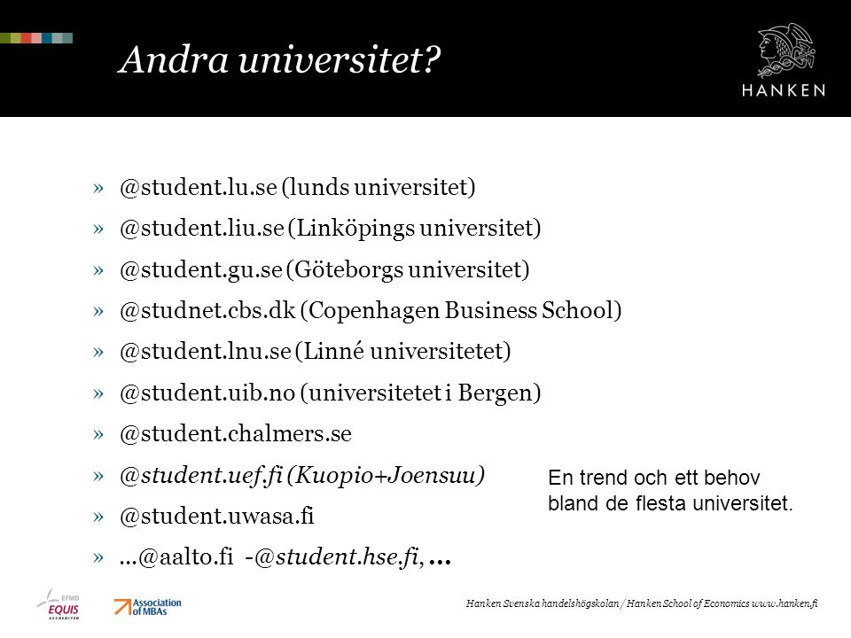 Andra universitet @student.lu.se (lunds universitet)