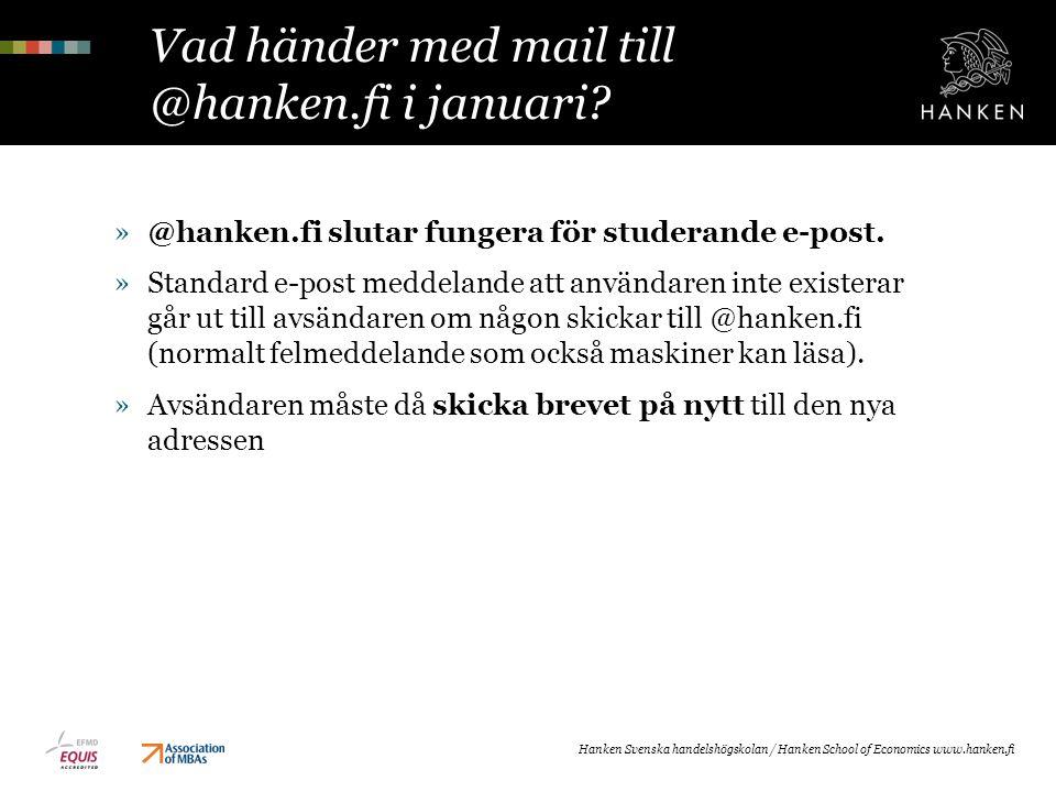 Vad händer med mail till @hanken.fi i januari