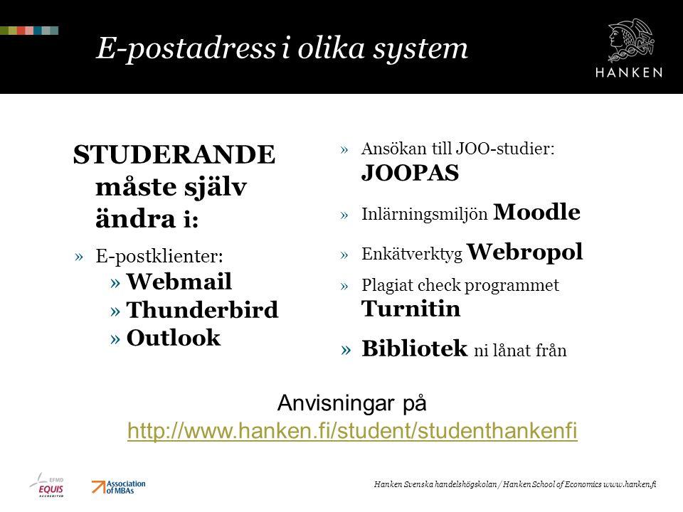 E-postadress i olika system