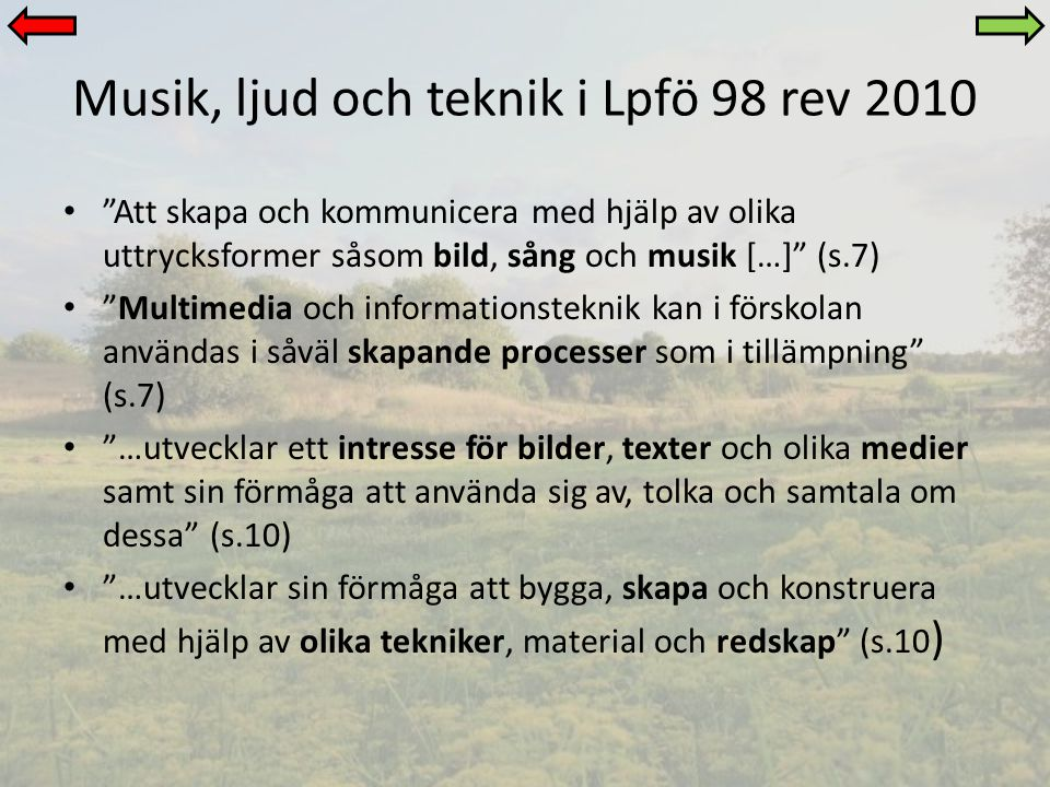 Musik, ljud och teknik i Lpfö 98 rev 2010