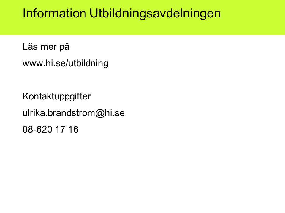 Information Utbildningsavdelningen