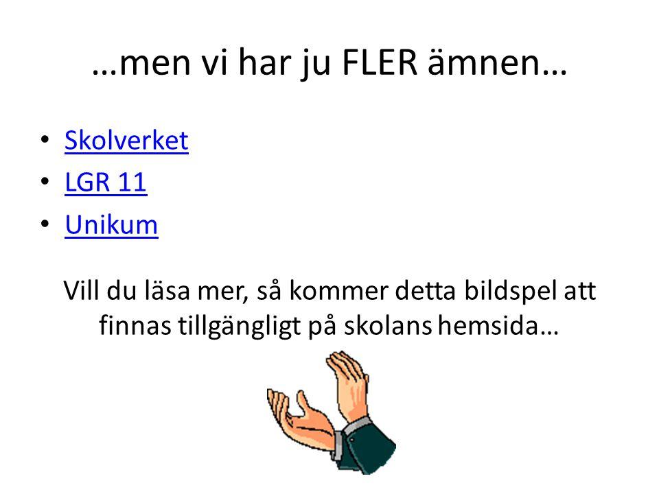 …men vi har ju FLER ämnen…
