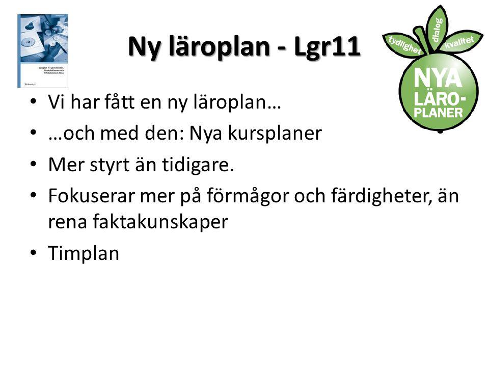 Ny läroplan - Lgr11 Vi har fått en ny läroplan…