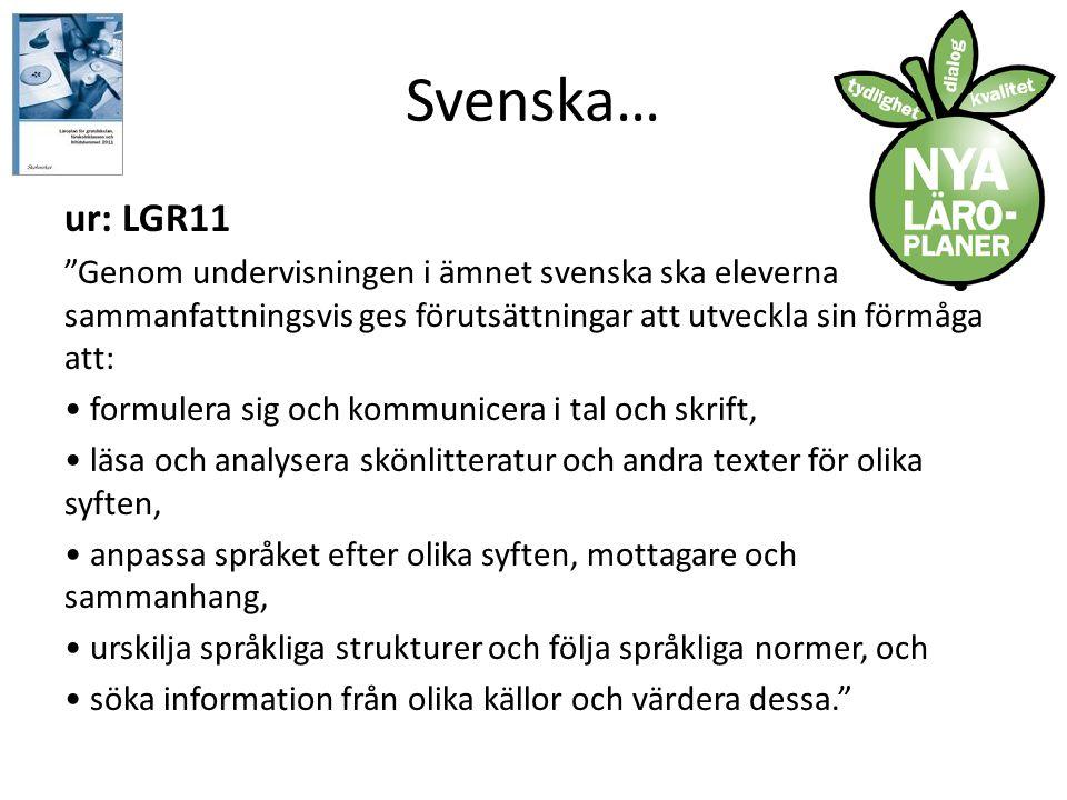 Svenska… ur: LGR11. Genom undervisningen i ämnet svenska ska eleverna sammanfattningsvis ges förutsättningar att utveckla sin förmåga att: