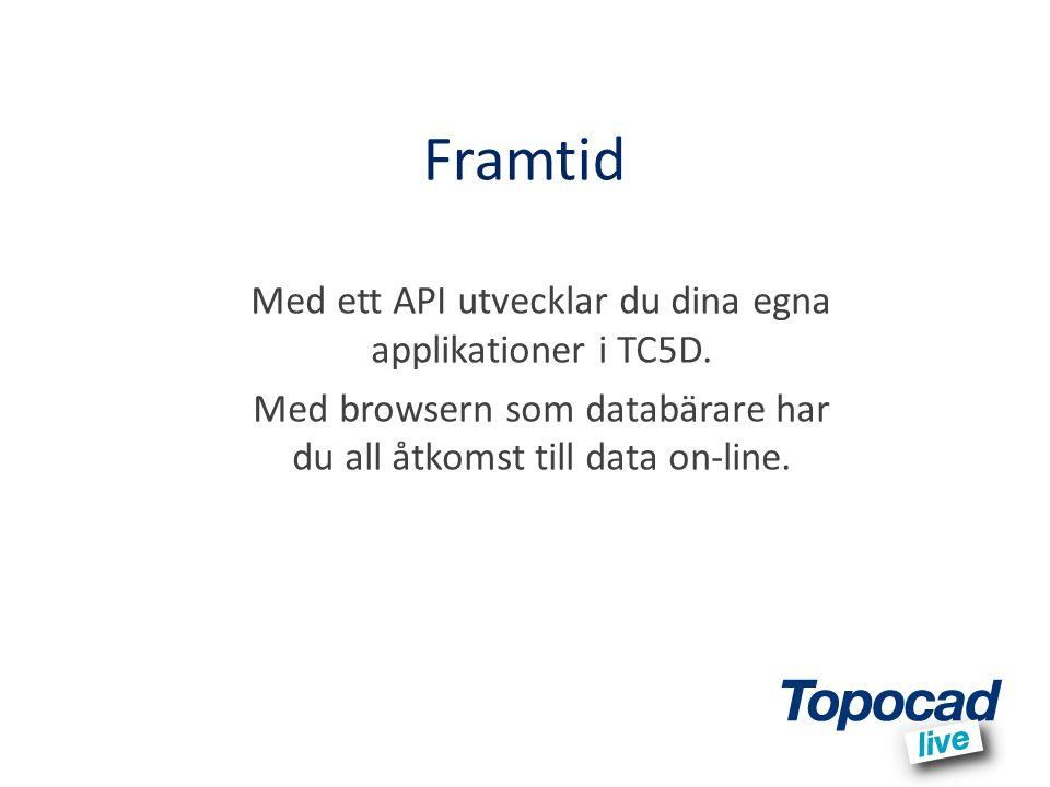 Framtid Med ett API utvecklar du dina egna applikationer i TC5D.