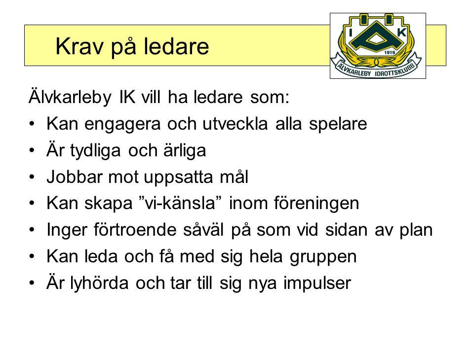 Krav på ledare Älvkarleby IK vill ha ledare som: