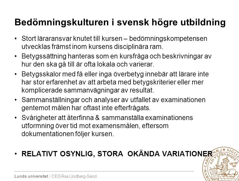 Bedömningskulturen i svensk högre utbildning