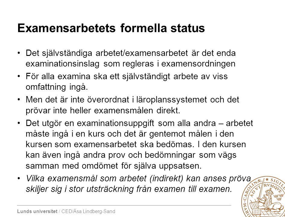 Examensarbetets formella status