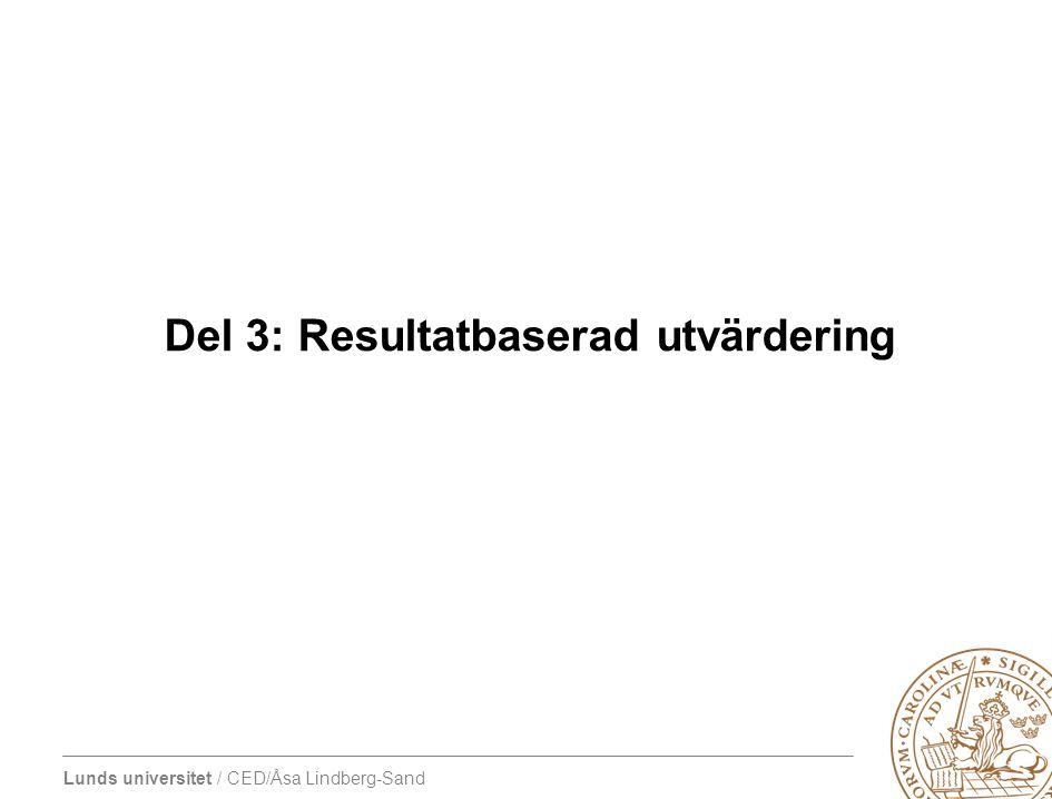 Del 3: Resultatbaserad utvärdering