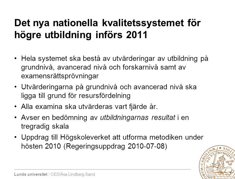 Det nya nationella kvalitetssystemet för högre utbildning införs 2011