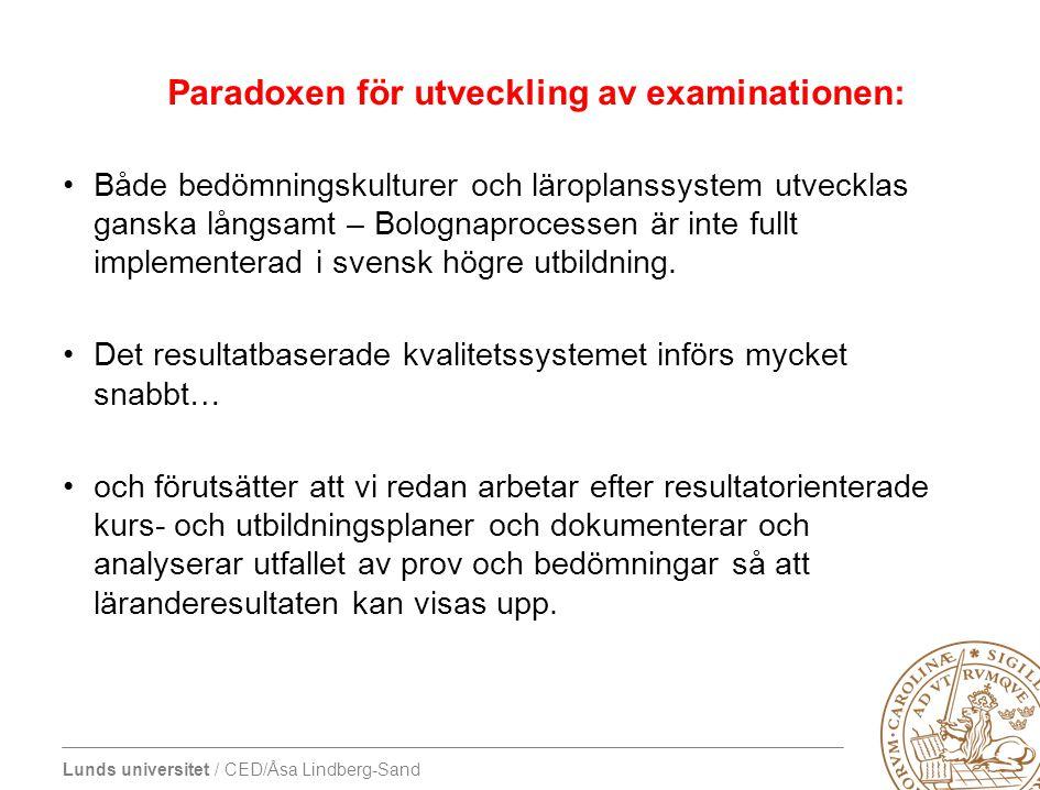 Paradoxen för utveckling av examinationen: