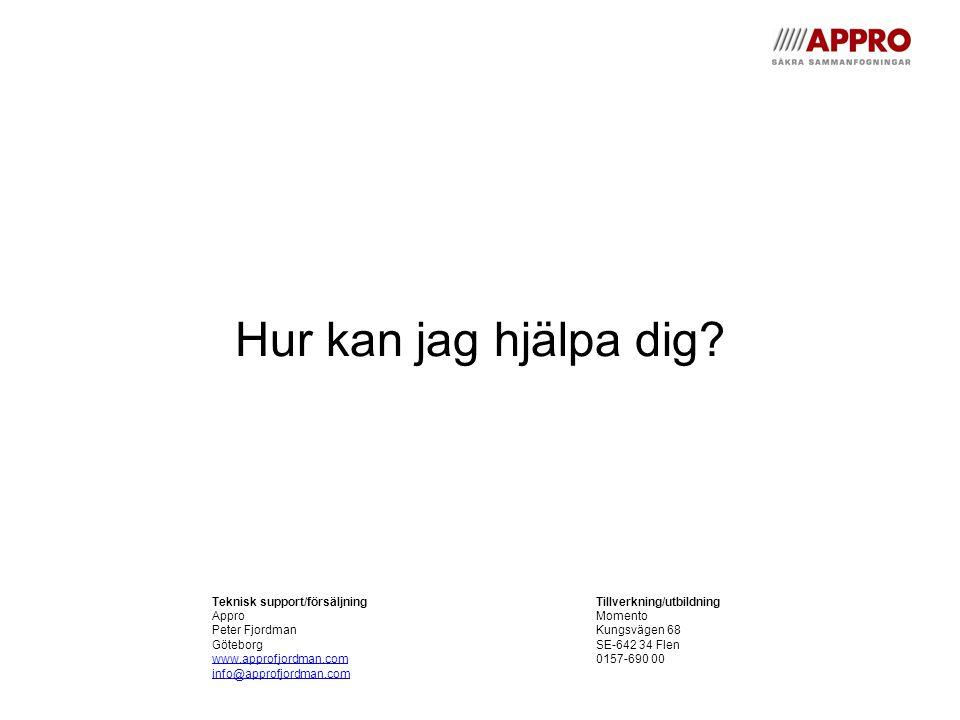 Hur kan jag hjälpa dig Teknisk support/försäljning Tillverkning/utbildning. Appro Momento. Peter Fjordman Kungsvägen 68.