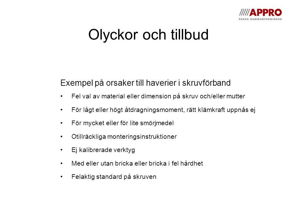 Olyckor och tillbud Exempel på orsaker till haverier i skruvförband