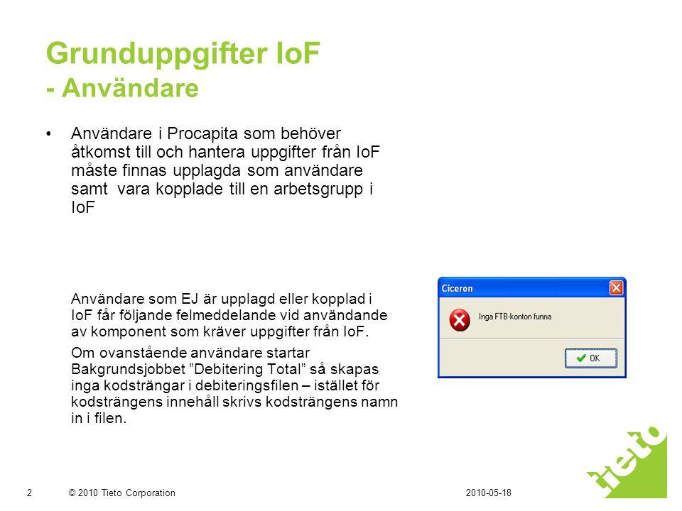 Grunduppgifter IoF - Användare