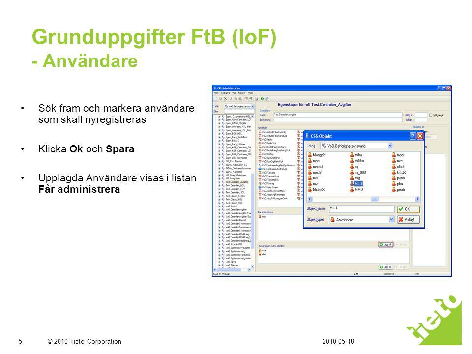 Grunduppgifter FtB (IoF) - Användare