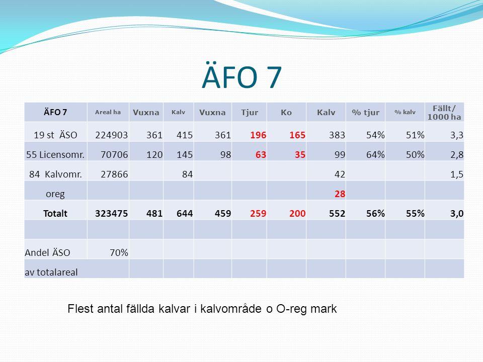ÄFO 7 Flest antal fällda kalvar i kalvområde o O-reg mark 19 st ÄSO
