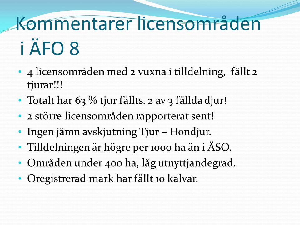 Kommentarer licensområden i ÄFO 8