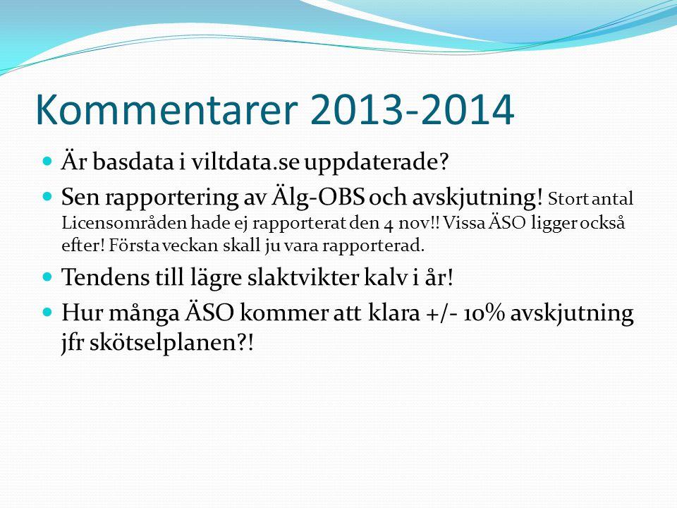 Kommentarer 2013-2014 Är basdata i viltdata.se uppdaterade